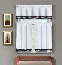 3 Pc White Kitchen Window Curtain Set:Crochet Black and White Accent Free Hanger