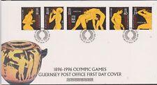 GB - GUERNSEY 1996 Modern Olympics Games Centenary SG 705-709 FDC SPORTS