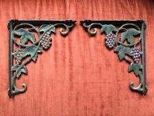 """Antique Painted Cast Iron Shelf Brackets Grape Vine  10"""" X 8.5"""""""