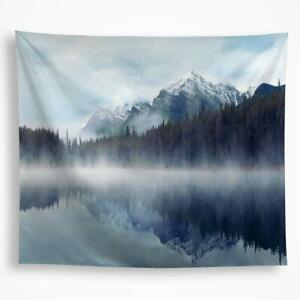 "Tapestry Landscape Horizon Mountains Foggy Winter Misty 51"" x 59"" Wall Hanging"