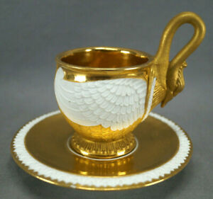 Edme Samson Paris Sevres Style Gold & White Porcelain Swan Cup & Saucer A