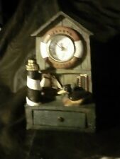 Green Brown Wooden Lighthouse Clock Collectible