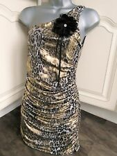 Ladies black and gold party dress size 8 one shoulder animal print INTERNACIONAL