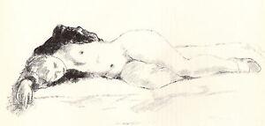 """ALEXANDER BROOK 1939 WPA BookPrint """"SLEEP"""" Vintage Nude Artwork Portrait Sketch"""