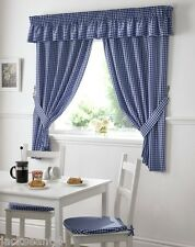 """BLUE GINGHAM EMBROIDERED PELMET TO MATCH KITCHEN CURTAINS  L136"""" X W10"""""""