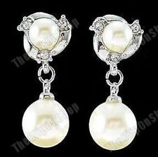 Pearl 2.5cm drop Earrings Comfy Clip On cream/ivory