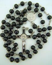 Needzo PLC 6MM Round Black Wood Bead Rosary Saint Benedict Medal Center Crucifix