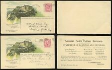 CANADA PACIFIC RAILWAY STATIONERY HOTEL FRONTENAC QUEBEC 1907 + EXTRA PLAIN BACK