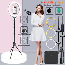 "14"" BiColor Led Dimmable Ring Light w/ Stand Kit For Social Media & Beauty Shoot"