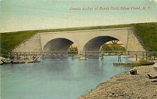 Vintage Postcard Double Arches Bridge At Beach Park Silver Creek NY Chautauqua
