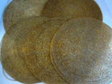 """Gold Glass Beaded Placemat Charger Centerpiece Luxe 12"""" set 5. Bead Wire."""