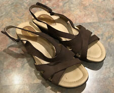 7edb7a0e995a I LOVE COMFORT Brown Leather Ankle Strap Women Sandals Open Toe Shoes 9M