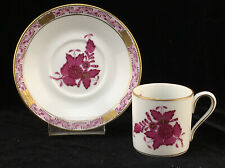 Herend Hungary Porcelain CHINESE BOUQUET GARLAND Raspberry Cup & Saucer