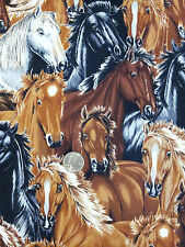"""Horse Herd Collage Fabric Brown Black White 34"""" x 43"""" Cotton Quilting"""