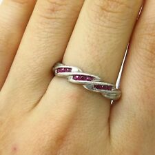 Signed 925 Sterling Silver Real Ruby Gemstone Ring Size 8 3/4