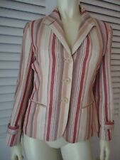 Bcbg Maxazria Cotton Striped Blazer Jacket 6 Half Lined Buttons Pockets