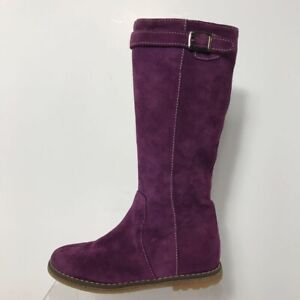 Shoe Be Doo Girls Tall Boots Purple Suede Zipper Round Toe Buckles Italy 10Y