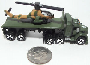 Small Micro Machine Plastic Military Semi Flat Bed w/ AH-1 Cobra