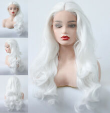 """US 24"""" Lace Front Wig Long Curly Wavy Synthetic Fiber Hair Women Pure White"""