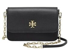 NWT Tory Burch Pebbled Leather Mercer Chain WALLET CROSSBODY CLUTCH Black $285