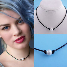 NEW Women Simulated Pearl Necklace Genuine Leather Cord Choker Jewelry Handmade