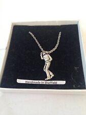 "Male Line Dancer PP-W03  Emblem on Silver Platinum Plated Necklace 18"""