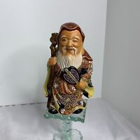 Japanese Satsuma Moriage Art Pottery FuLu Shou Immortal God
