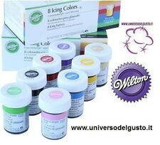 SET 8 COLORANTI WILTON ALIMENTARI  28 GR CAKE DESIGN TORTE attrezzature mmf pdz