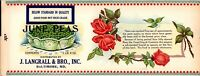 Product Label June Peas J. Langrall & Bro. Inc. Baltimore MD Maryland         -C