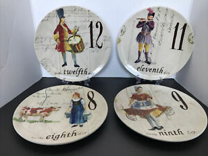 williams sonoma 12 days of christmas plate (set of 4)