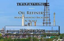 "Train Junkies N Scale ""Oil Refinery"" Model Railroad Backdrop 12X80"""
