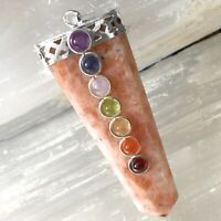Natural 7 Chakra Sunstone Crystal Pendant Necklace Positive Reiki Energy CHARGED