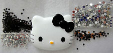 DIY Hello Kitty Black Bow Silver Crystal Rhinestones Deco Kit Set Flatback Lot