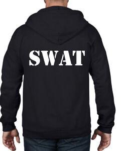 SWAT FANCY DRESS COSTUME FULL ZIP HOODIE - Police FBI T-Shirt