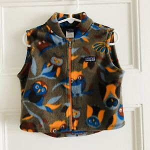 Patagonia Toddler Boys Synchilla Fleece Vest Baby 18 Months Owls Brown Blue EUC