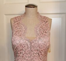 Alberto Makali Sheath Dress Pink Gray Lace Scalloped V-Neck Sleeveless Cocktail