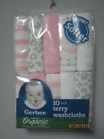 Gerber Baby Girl 10-Pack Organic Cotton Pink & Gray Terry Washcloths