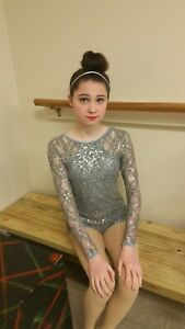 Curtain call dance costume Childs large lyrical jazz contemporary grey sequined