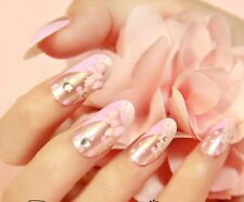 Oval Full Cover False Nails  Pink Print Fake 3d Bows Dots rhinestone PFN-O-623