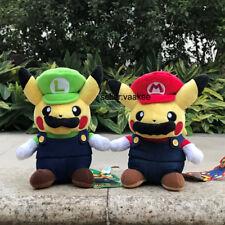"""2X Pokemon Center Go Pikachu Super Mario Luigi Plush Toys Stuffed Animal Doll 8"""""""