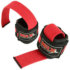 WEIGHT LIFTING BAR STRAPS GYM BODY BUILDING FITNESS WRIST SUPPORT BANDAGE RED