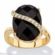 WOMENS 14K GOLD CHECKERBOARD PAVE BLACK ONYX GP CZ RING SIZE 6 7 8 9 10