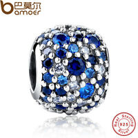 Shine Authentic S925 Sterling Silver Mixed Blue Cz Charms Fit P Bracelets Chain