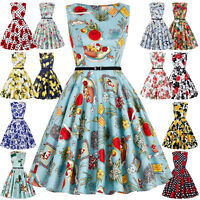 Lady Vintage Style 50s 60s Pinup Housewife Evening Tea Swing Floral Dress XS/S/L