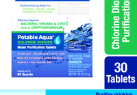 Potable Aqua Chlorine Dioxide Water Purification Tablets - 30 Count 30 Tablets