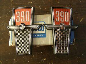 NOS OEM Ford 1965 Galaxie 500 Fender Emblems Ornaments 390 ci
