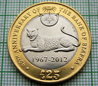BIAFRA FREE STATE 2012 25 POUNDS 45th ANNIVERSARY BANK OF BIAFRA BI-METALLIC