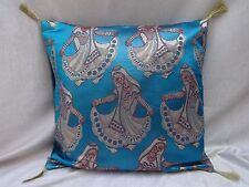 "Cushion Cover Pillow Case Traditional Brocade Blue golden tassel 18x18"""