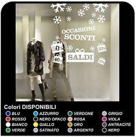 "Adesivi Murali ""Saldi con neve"" - Misure 120x130 cm - Vetrofanie per saldi"