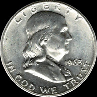 "1963 D Franklin Half Dollar 90% SILVER ""Brilliant Uncirculated"" **BEAUTIFUL**"